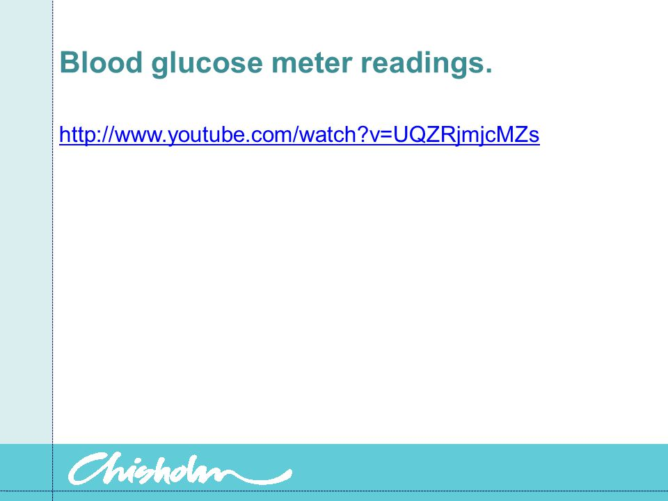 Blood glucose meter readings.