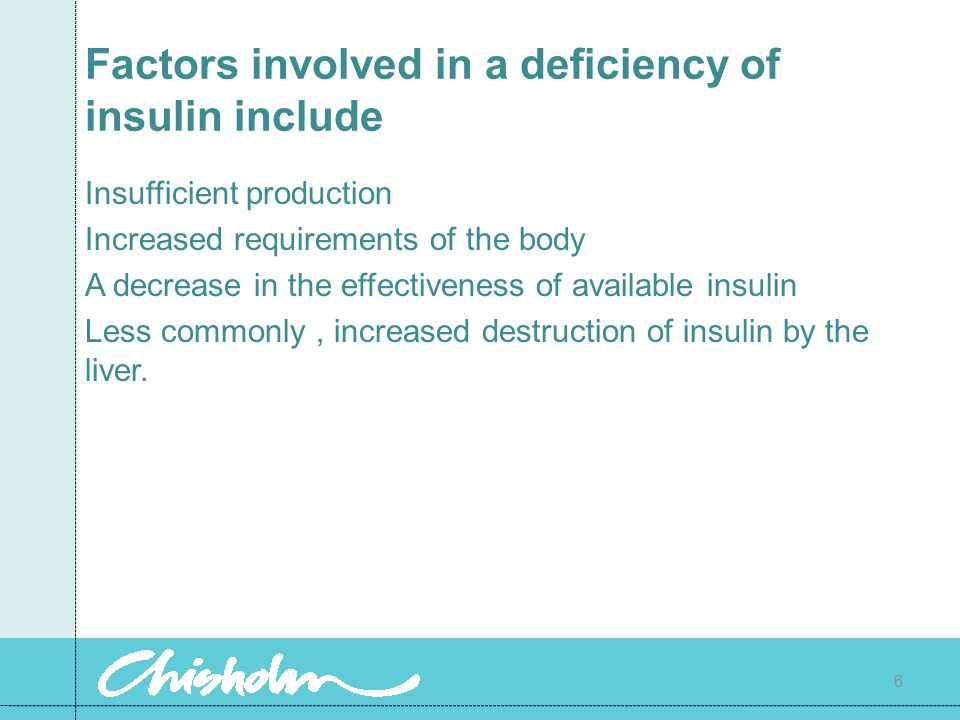 Factors involved in a deficiency of insulin include