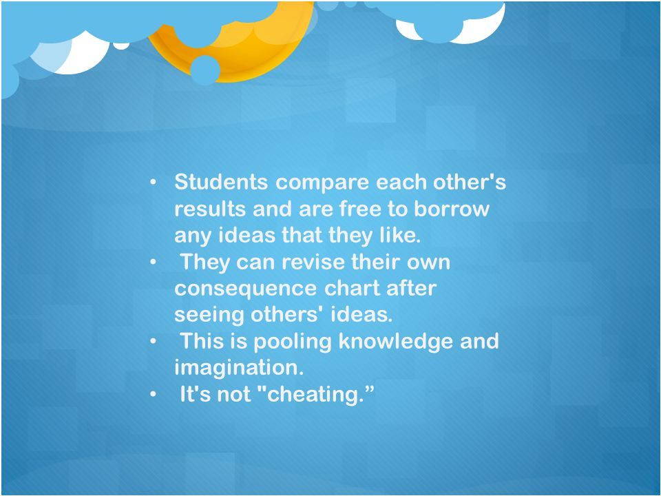 Students compare each other s results and are free to borrow any ideas that they like.