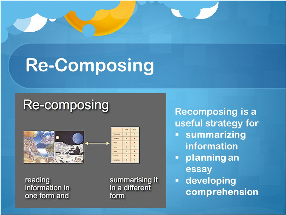 Re-Composing Recomposing is a useful strategy for