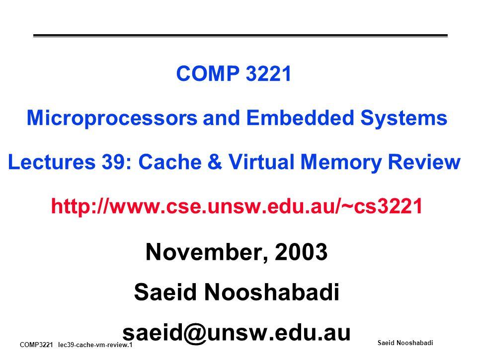 November, 2003 Saeid Nooshabadi saeid@unsw.edu.au