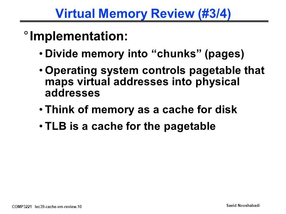 Virtual Memory Review (#3/4)