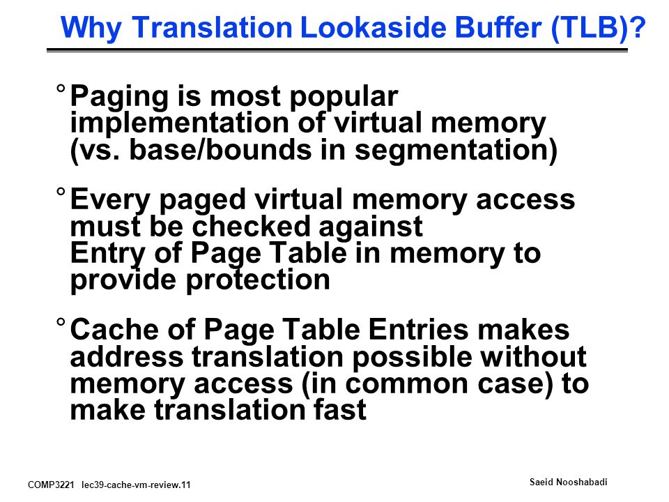 Why Translation Lookaside Buffer (TLB)