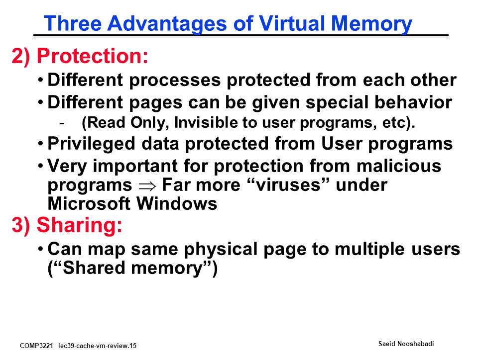 Three Advantages of Virtual Memory