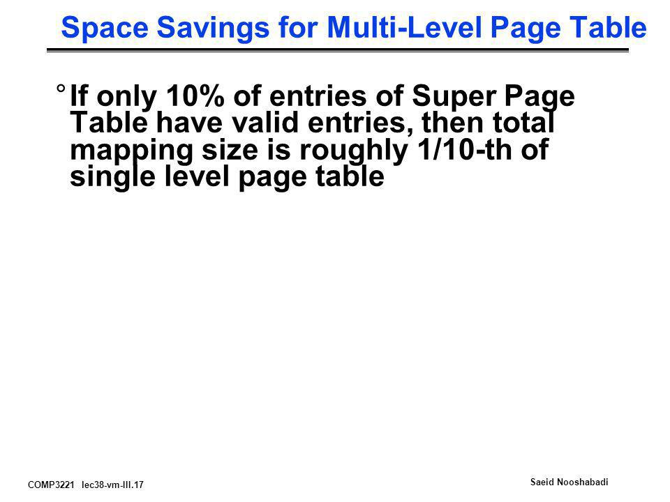 Space Savings for Multi-Level Page Table