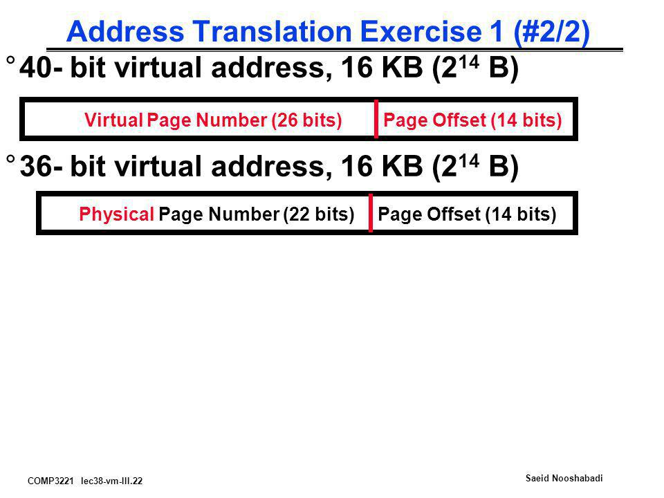 Address Translation Exercise 1 (#2/2)