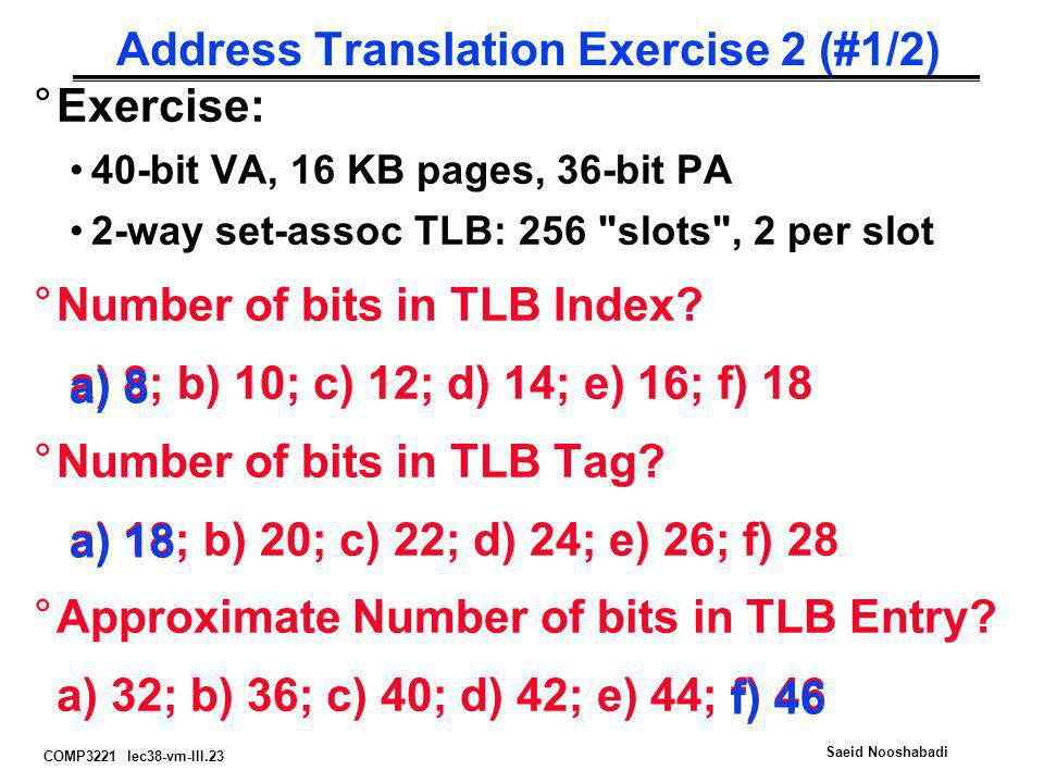 Address Translation Exercise 2 (#1/2)