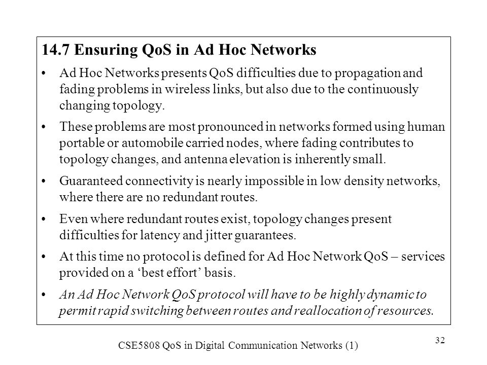 14.7 Ensuring QoS in Ad Hoc Networks