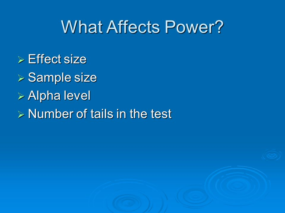 What Affects Power Effect size Sample size Alpha level