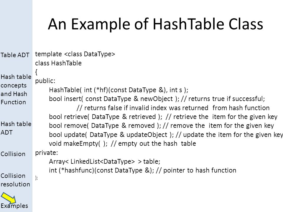 An Example of HashTable Class