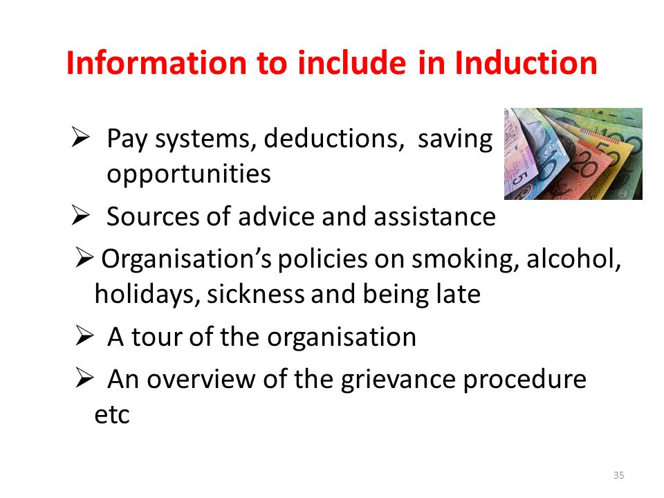 Information to include in Induction