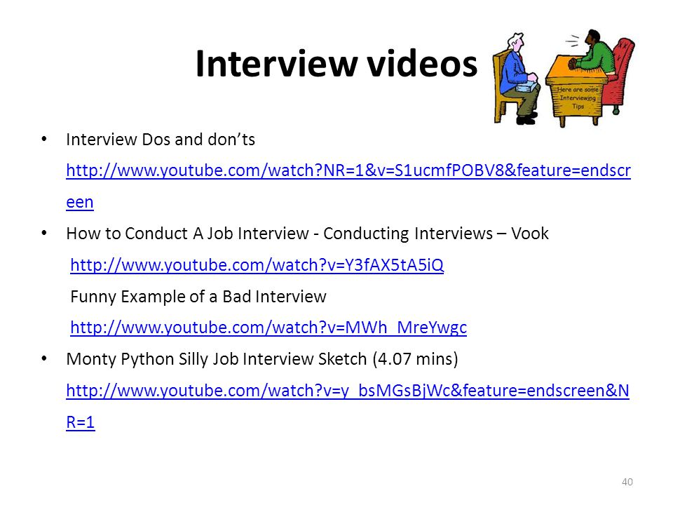 Interview videos Interview Dos and don'ts