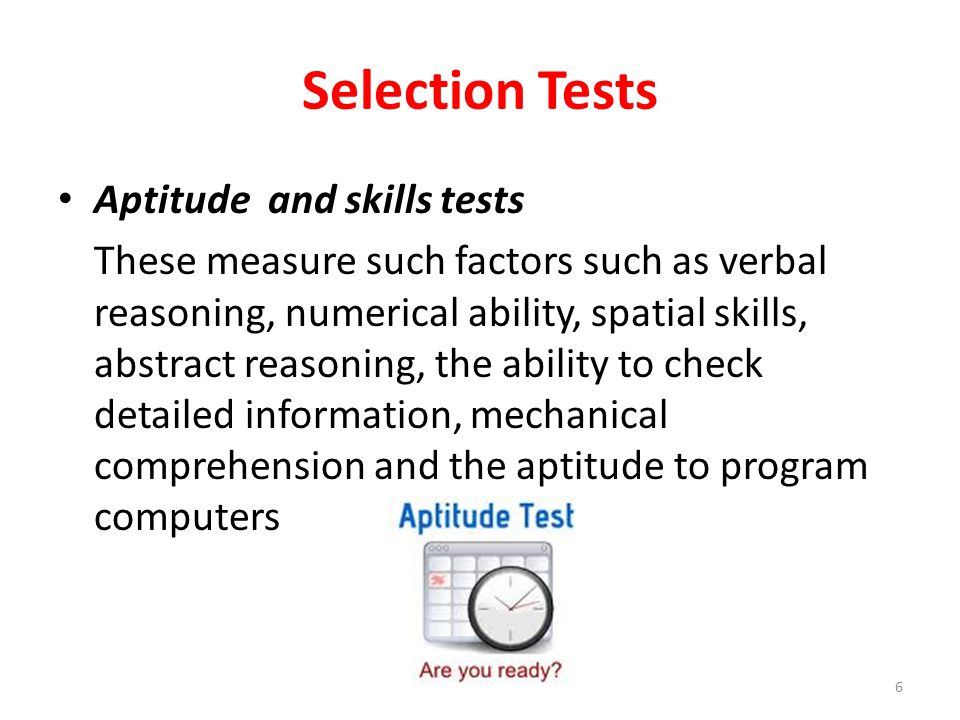 Selection Tests Aptitude and skills tests