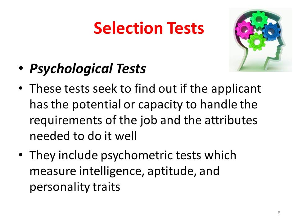 Selection Tests Psychological Tests