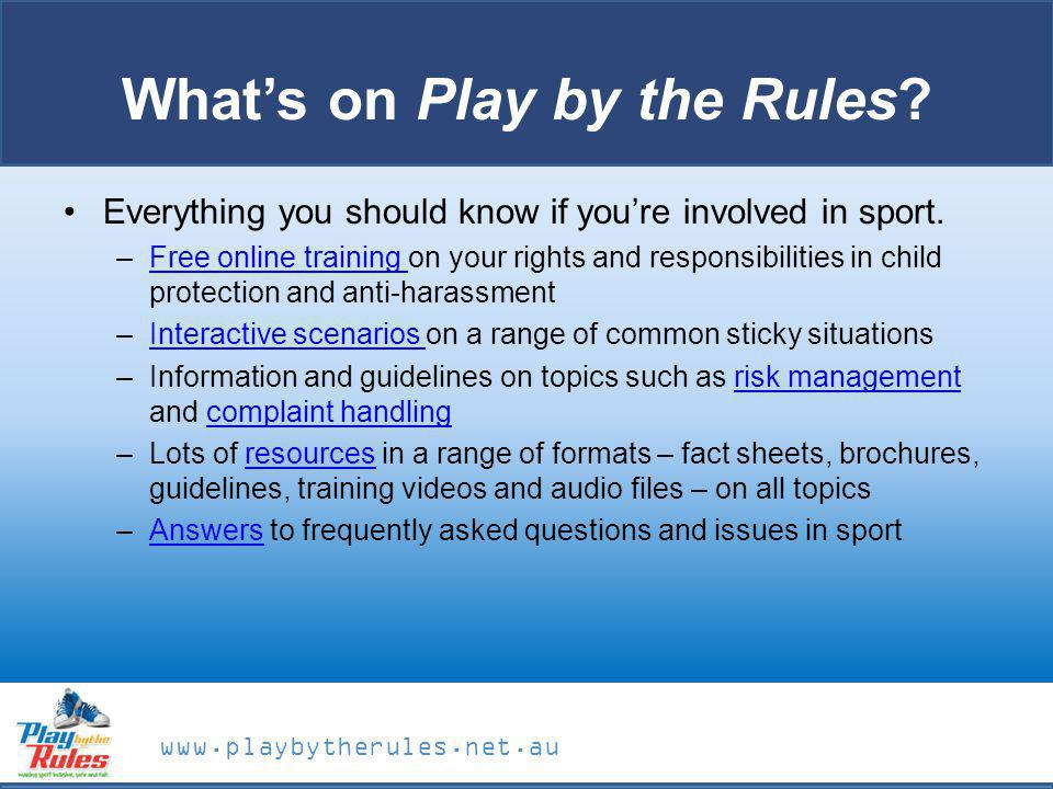 What's on Play by the Rules