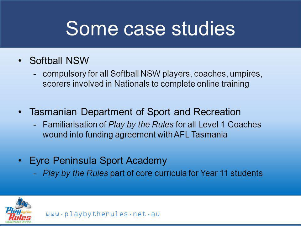 Some case studies Softball NSW