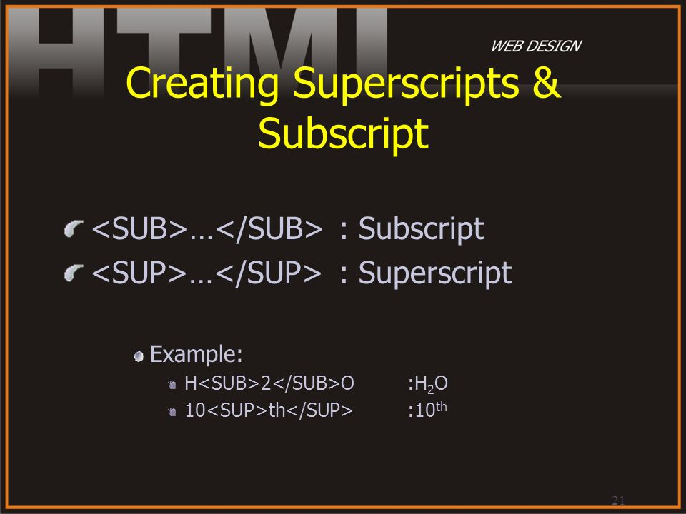 Creating Superscripts & Subscript