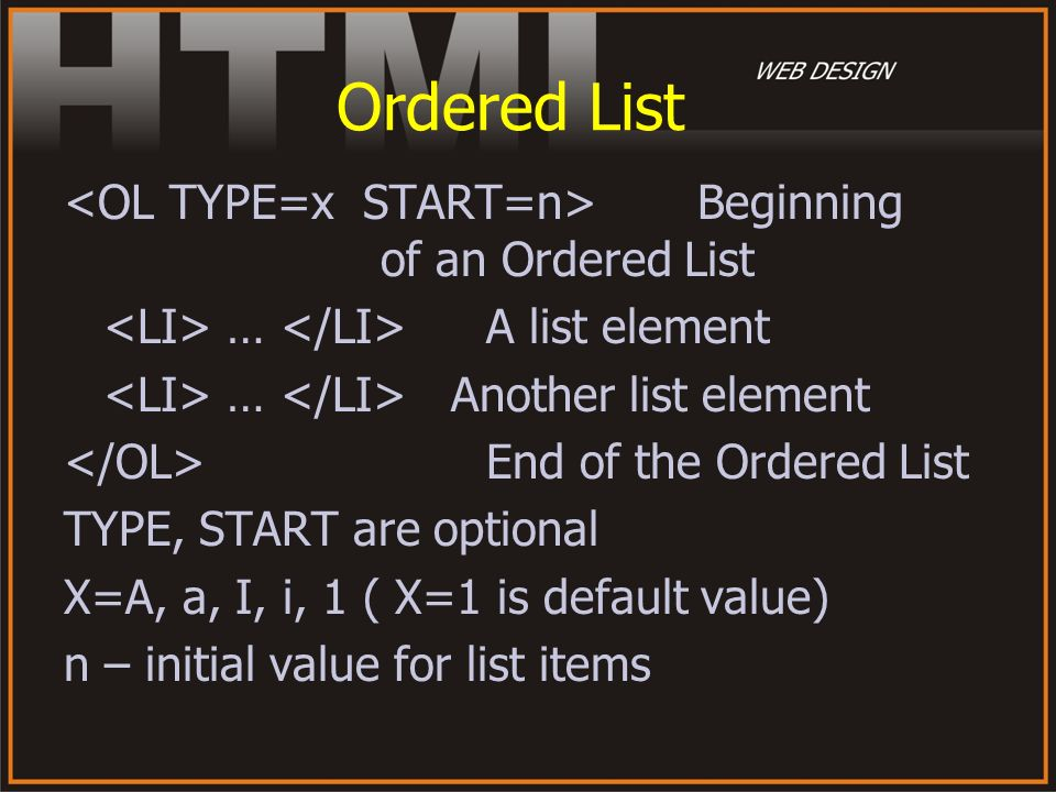 Ordered List <OL TYPE=x START=n> Beginning of an Ordered List