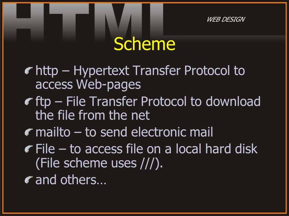 Scheme http – Hypertext Transfer Protocol to access Web-pages