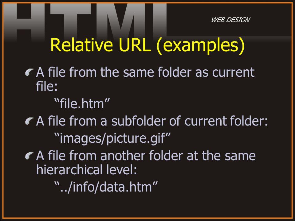 Relative URL (examples)