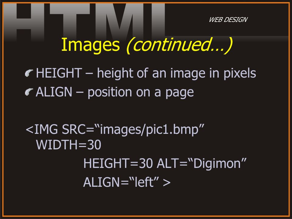 Images (continued…) HEIGHT – height of an image in pixels