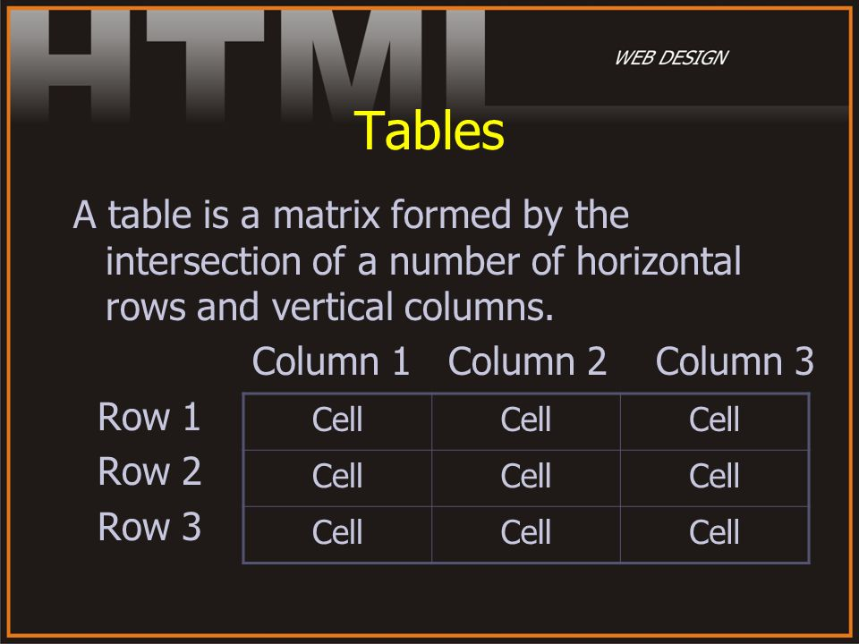Tables A table is a matrix formed by the intersection of a number of horizontal rows and vertical columns.