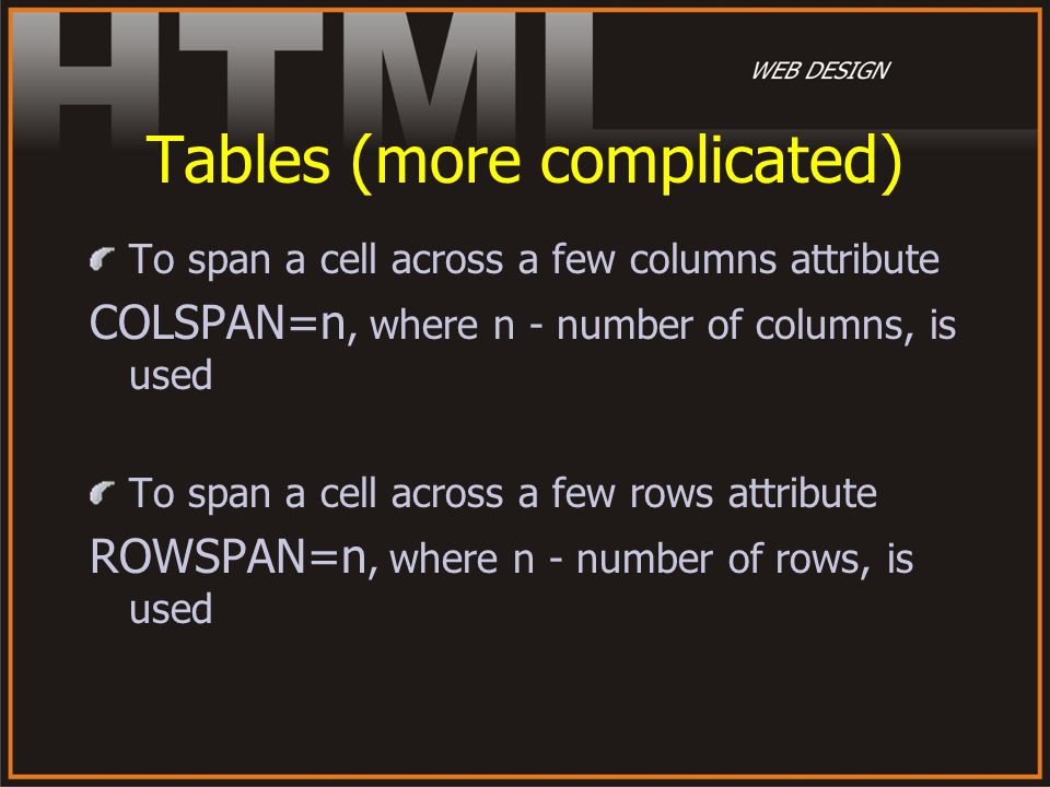 Tables (more complicated)