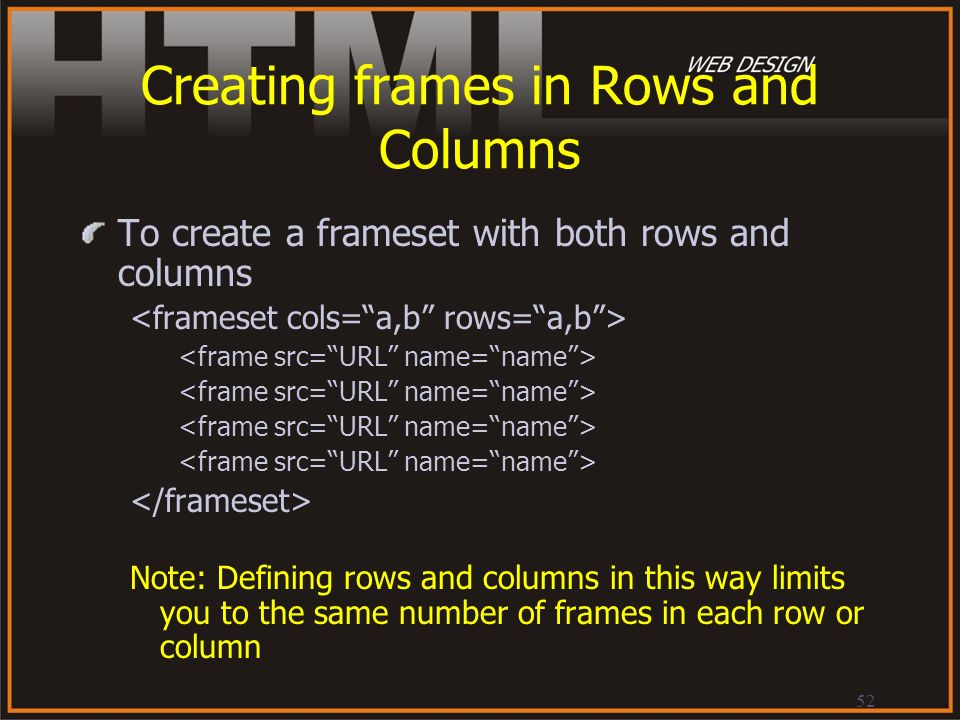 Creating frames in Rows and Columns