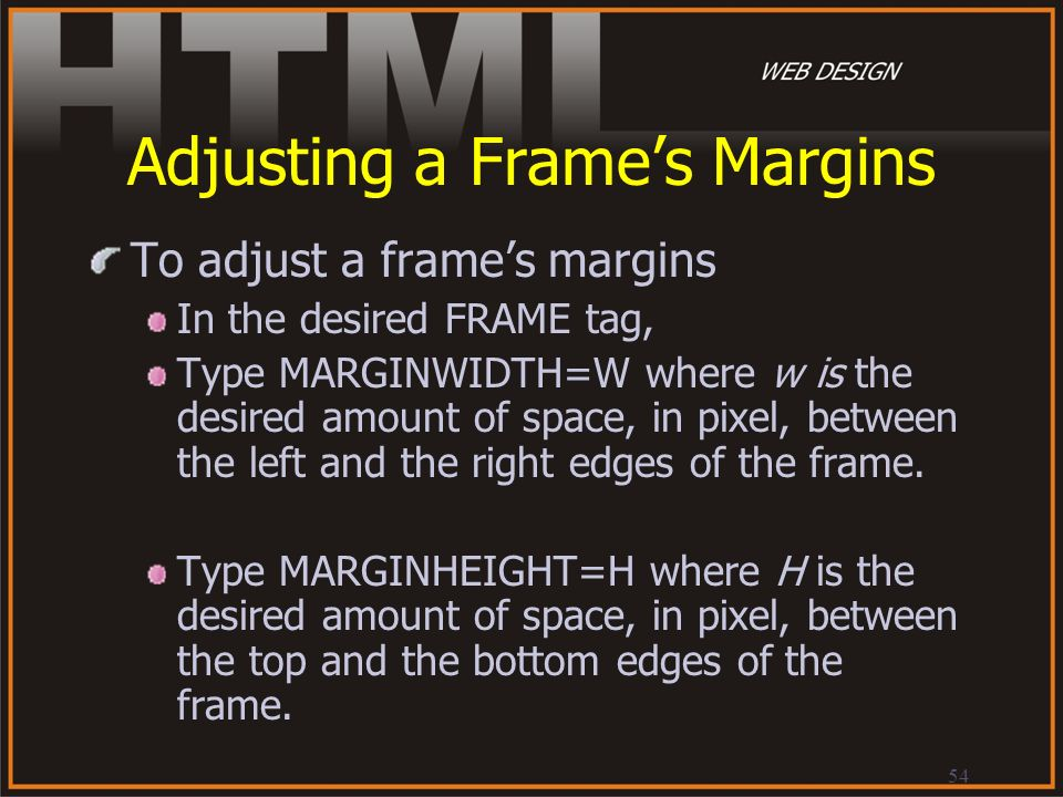 Adjusting a Frame's Margins