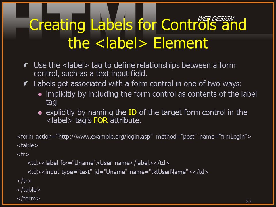 Creating Labels for Controls and the <label> Element