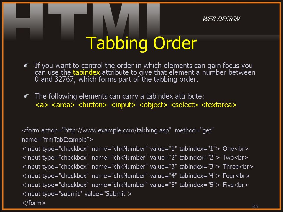 Tabbing Order
