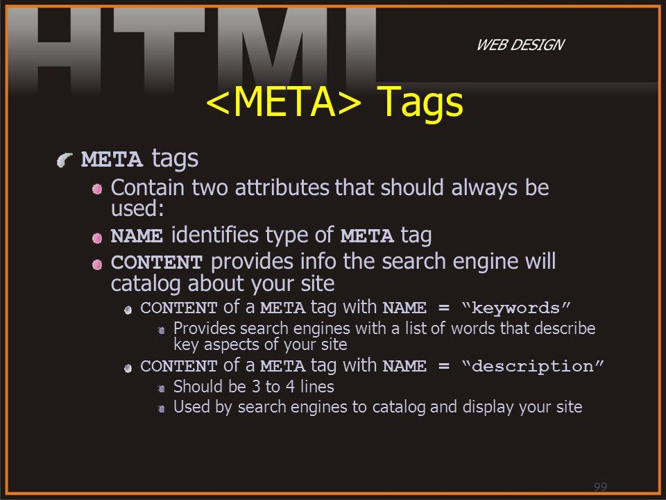 <META> Tags META tags