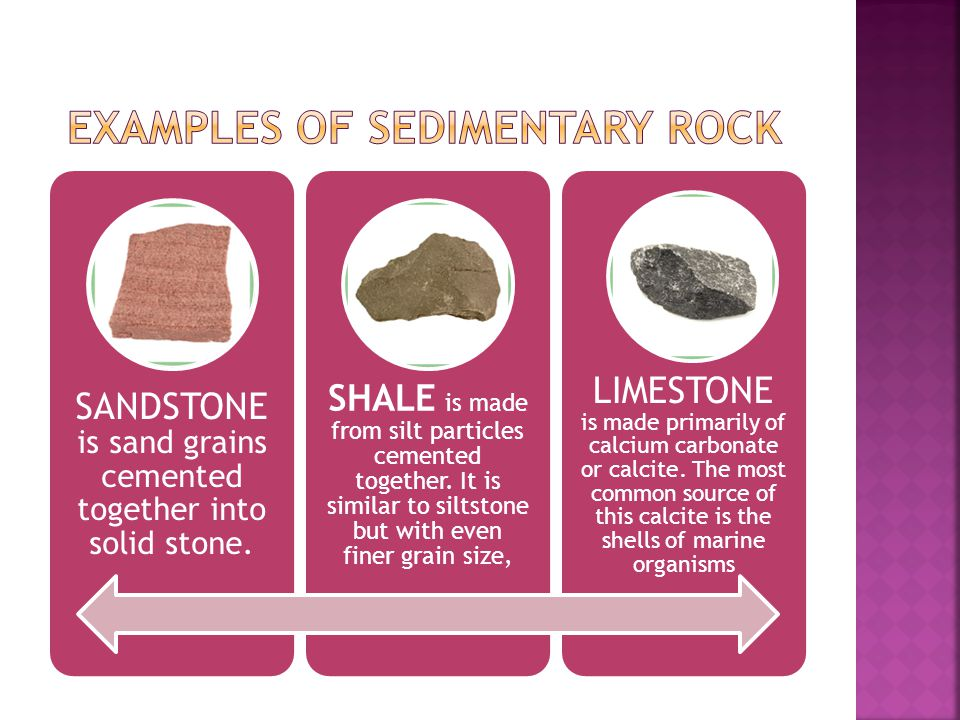 Examples of sedimentary rock