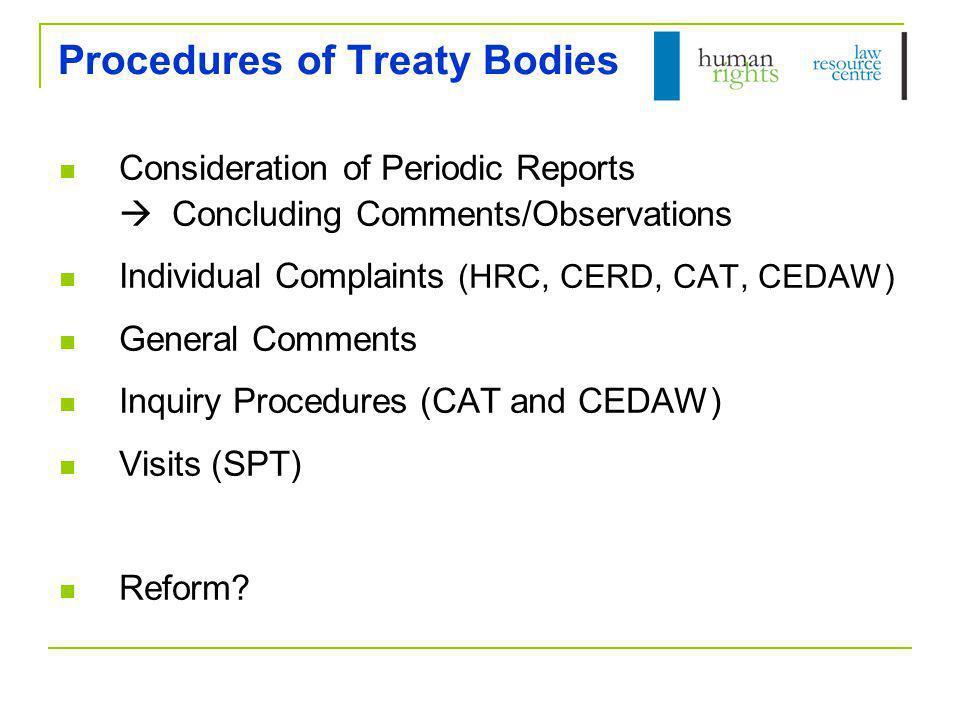 Procedures of Treaty Bodies