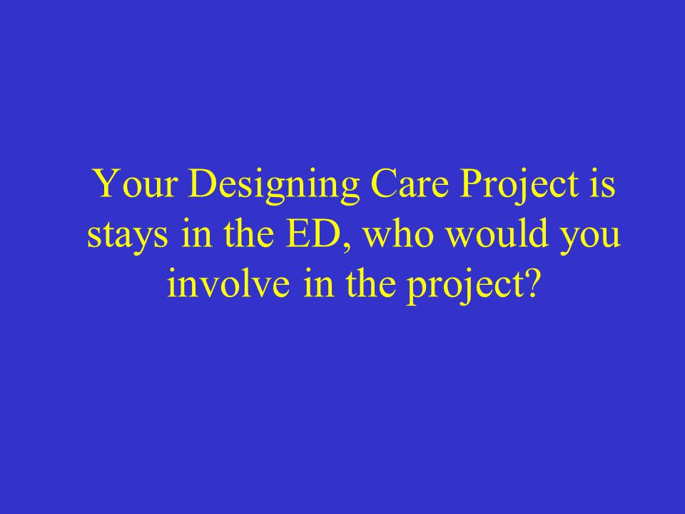 Your Designing Care Project is stays in the ED, who would you involve in the project