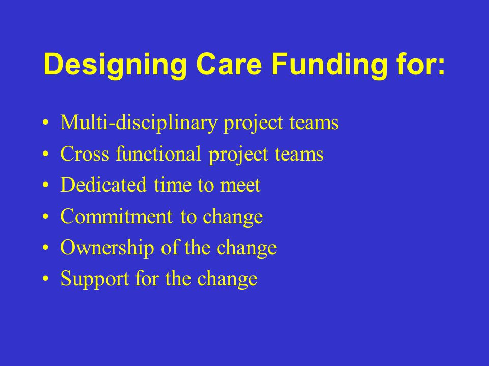 Designing Care Funding for: