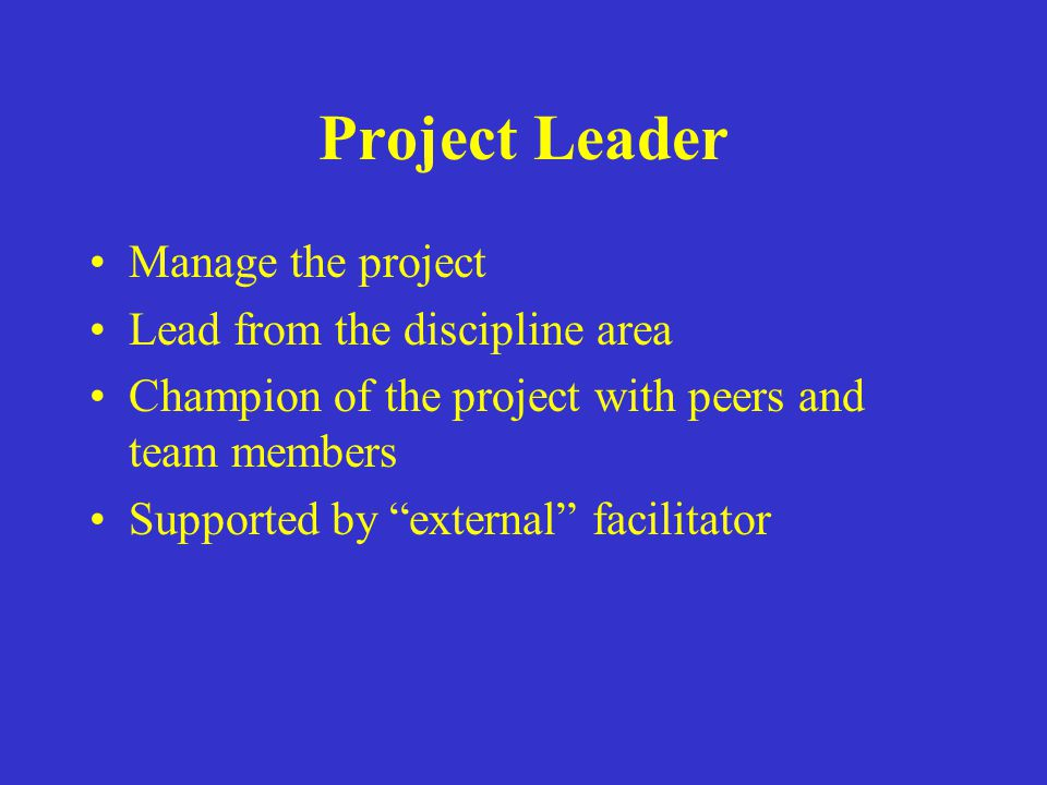Project Leader Manage the project Lead from the discipline area