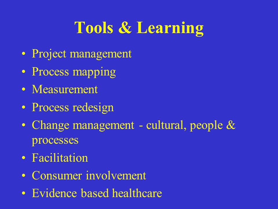 Tools & Learning Project management Process mapping Measurement