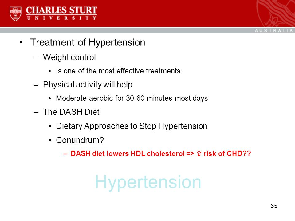 Hypertension Treatment of Hypertension Weight control