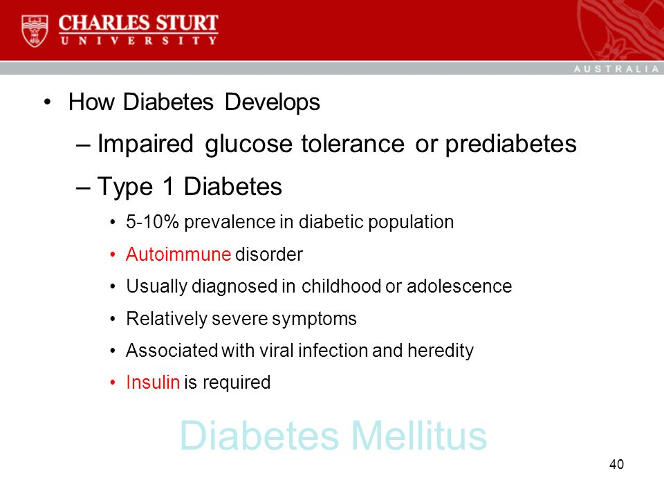 Diabetes Mellitus Impaired glucose tolerance or prediabetes
