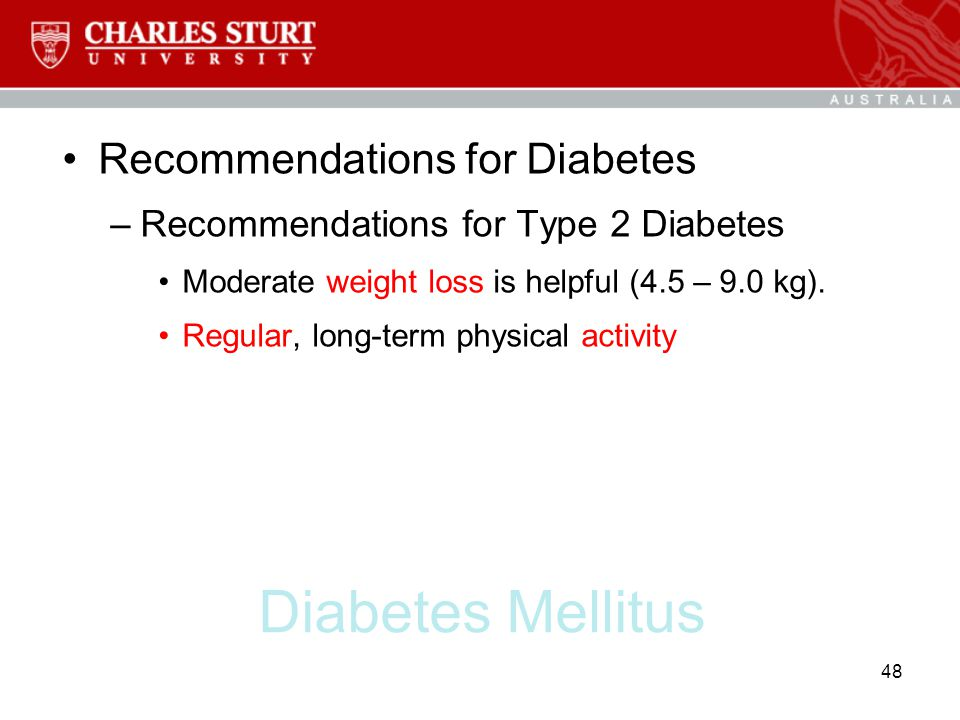 Diabetes Mellitus Recommendations for Diabetes