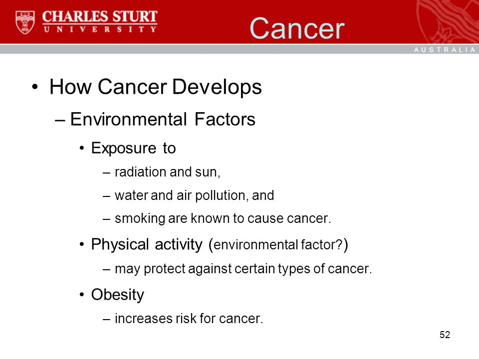 Cancer How Cancer Develops Environmental Factors Exposure to