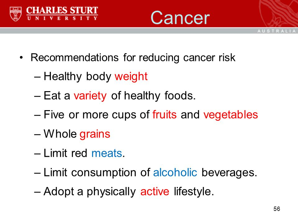 Cancer Healthy body weight Eat a variety of healthy foods.