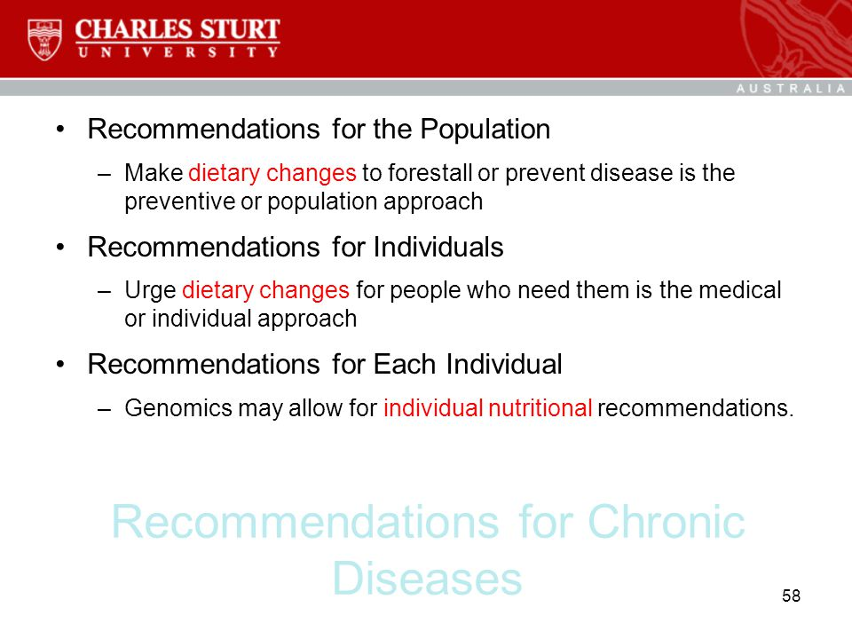 Recommendations for Chronic Diseases