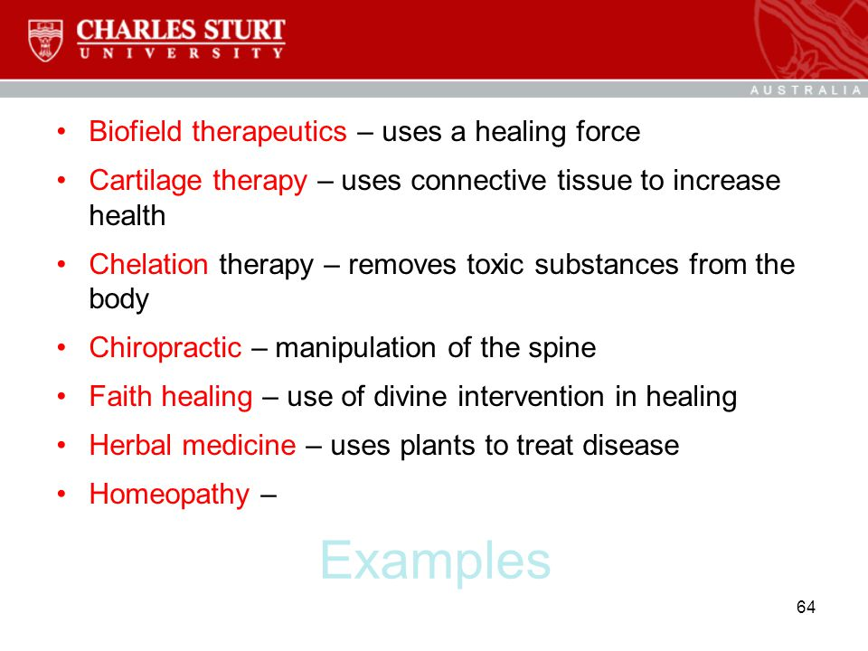 Examples Biofield therapeutics – uses a healing force