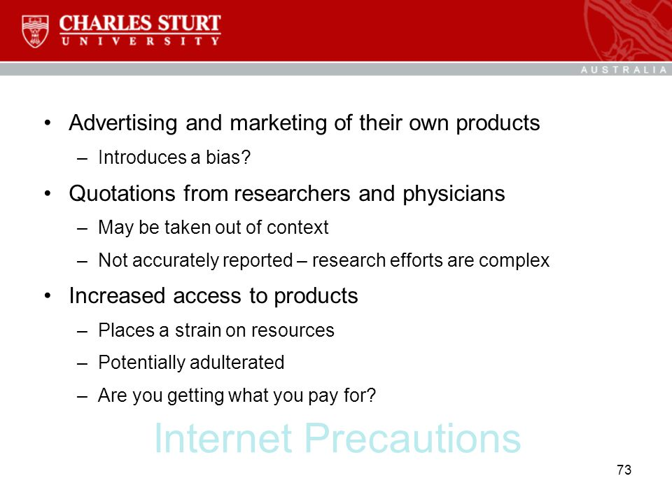 Internet Precautions Advertising and marketing of their own products