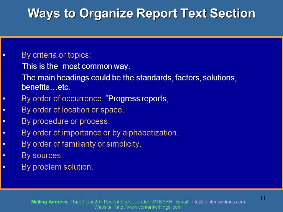 Ways to Organize Report Text Section