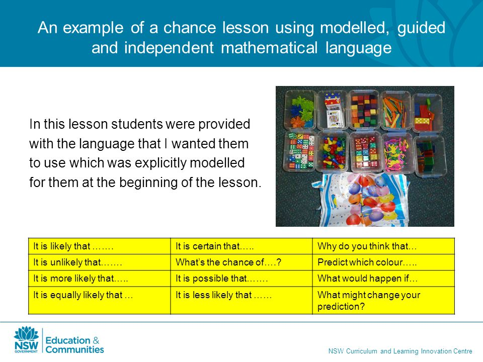 An example of a chance lesson using modelled, guided and independent mathematical language