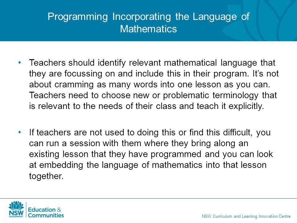 Programming Incorporating the Language of Mathematics