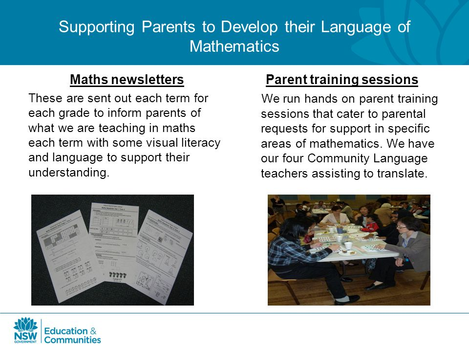 Supporting Parents to Develop their Language of Mathematics
